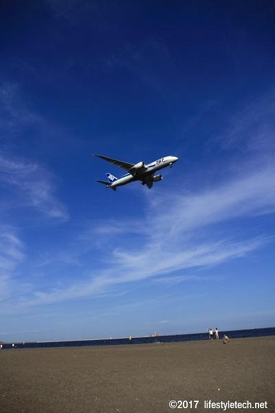 城南島海浜公園からの飛行機